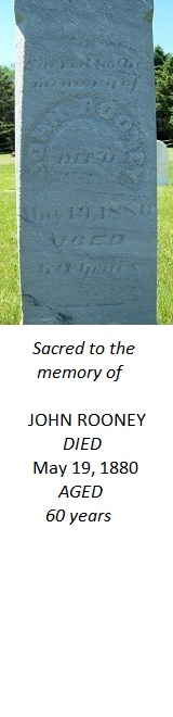 John Rooney tombstone side close-up